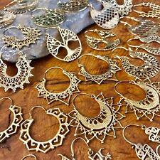 Brass Tribal Gypsy Ethnic Earrings Boho Spirals Hoops Indian Mandala Many Design