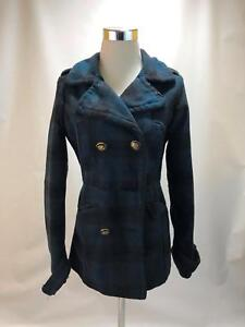 Charlotte Russe X-Small/Small Women's Jacket Blue Plaid Double Breasted XS/S