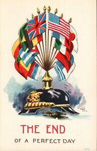 WW1 Patriotic Postcard,Bernhardt Wall,Allied Flags on German Helmet Postcard