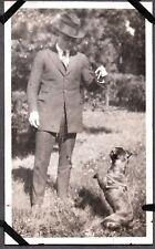 Vintage Photograph 1930 Men'S Fashion Staffordshire Bull Terrier Dog Puppy Photo