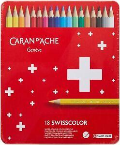 Caran D'Ache Crayons Coloré Swisscolor Aquarelle Boîte 18 Crayons de Couleur