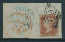 GB 1848 IRELAND BELTURBET TOWN DATESTAMP + 65 NUMERAL DIAMOND PENNY RED NL