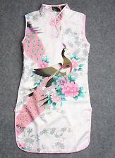 White Kid Child Girl's Baby Peacock Cheongsam Dress / Qipao Size 6 for 3-4 Year