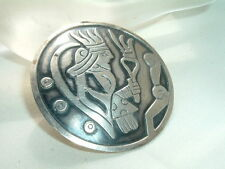 Vintage Large Mayan Mexico Solid Sterling Silver Brooch Pin in Gift Box