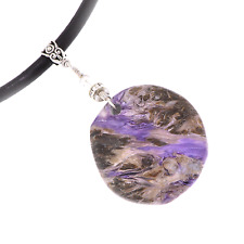 Purple Charoite Chunky BOHO Tribal Pendant Leather Necklace A002-5 Free Gift Box