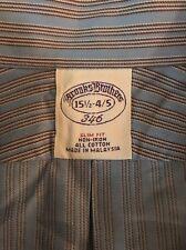 Brooks Brothers 15-1/2 (4/5) Slim Fit Blue Striped Cotton Dress Shirt #B9