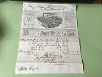 John Wilson & Son Mallable Iron Tubes 1895 illustrated  receipt Ref R32286