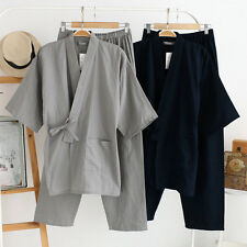 Men Kimono Yukata Cotton Japanese Bathrobe Wave Confort Robe Gown Nightwear.UK