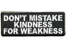 DON'T MISTAKE KINDNESS Embroidered Jacket Vest Funny Saying Biker Patch Emblem