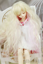 "1/4 7-8"" Bjd Wig Dal DD BJD Wig  LUTS DOD Dollfie SD Doll Long Blonde Pink Wig"