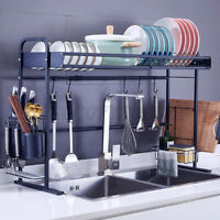 Stretchable Over Sink Dish Rack Drainer Shelf Stainless Kitchen Drying Holder US