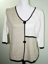 Orvis Womens Sweater Size Medium Brown And Eggshell Soft Cotton Acrylic