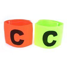 2 x Buckle Orange Green Elastic Soccer Captain's Arm Band D7W8