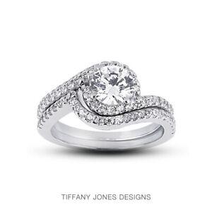 1.09ct D-VS1 Round Natural Certified Diamonds 18k Classic Matching Bridal Set