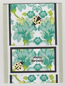 Blank Handmade Greeting Card ~ HAPPY BIRTHDAY with LADYBIRDS ON SPARKLY FLOWERS