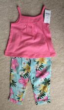 Carter's Girls Pink Tank & Floral Pants Outfit - Size 3 Months - NEW