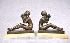 Pair Art Deco Figurine Bookends Bronze Statues Signed