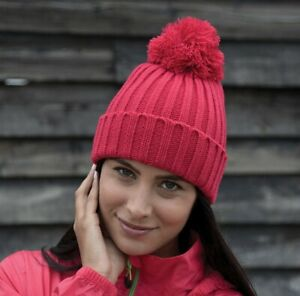 Result HDi Quest Knitted Hat Ribbed Beanie Knitted Bobble Pom Long Length(R369X)