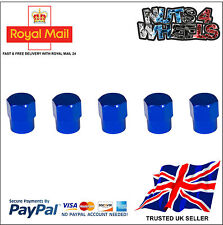 5x BLUE Aluminium Alloy Tyre Valve Dust Caps 4 +1 Car Bike Bicycle Van
