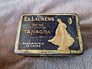 Antique Vintage Ed Laurens Tanagra 50 Cigarette Tin Box - 1920s Tobacco Advert