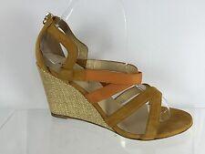 Marvin K. Womens Orange/Beige Leather Wedges 7.5
