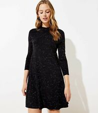 FLECKED MOCK NECK SWING SWEATER DRESS IN BLACK, Sz XS
