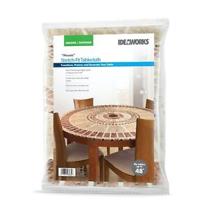 Mosaic Fitted Round Table Cover - Indoor/Outdoor Decorative Stretch Cover NEW