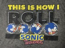 Sonic Hedgehog How I Roll T-Shirt MEDIUM Gray Sega Video Game