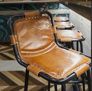 FACTORY BAR STOOL IN LEATHER