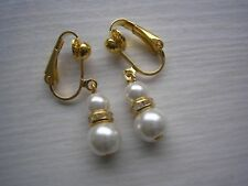 57s Pair of Pearl & Diamante Dangle Drop Clip-on Earrings for non pierced ears