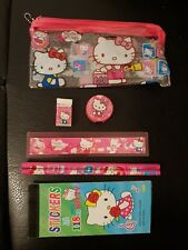 Clear Plastic Hello Kitty Pencil case 7 piece set *Great stocking filler!