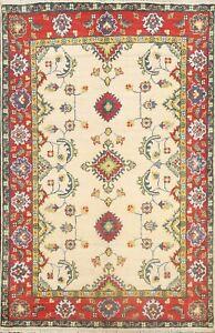 Floral Super Kazak Vegetable Dye IVORY Area Rug Hand-knotted Foyer Carpet 3'x5'