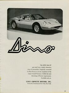 1972 Ferrari Dino 246 GT Sports Car Luigi Chinetti Motors Photo Vintage Print Ad