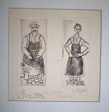 Righetti Edouard gravure signée numérotée les époux les paysans la culture terre