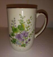 Vintage Speckled FLORAL VIOLETS Stoneware Mug Cup Ceramic Takahashi? Japan Retro