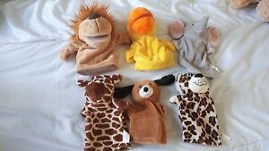 Hand  puppets  six animals - Lion.Duck.Dog.Giraffe.elephant .leopard good condit