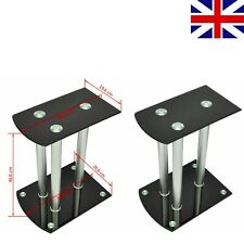 2 pcs  Aluminum Speaker Stands Holder Black Safety Tempered Glass High Quality