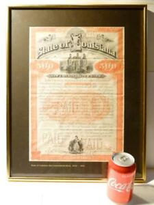 Antique 1892 - $500 State Louisiana New Consolidated Bond PAID No. 2797 America