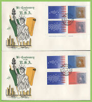 Ireland 1976 US Bi-Centennial set & M/S on two First Day Covers