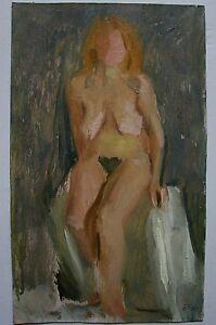 Russian Ukrainian Soviet Oil Painting Impressionism nude female figure girl