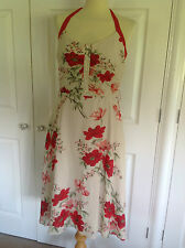 COAST stunning ivory & red floral 100% SILK halterneck occasion dress UK 12