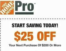 Home Depot $25 off $200  In-Store Only