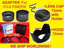 CAMERA LENS ADAPTER S3300+FILTER KIT+HOOD+CAP 72mm for FUJI S3300HD S3400HD 72