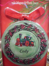 Personalized Metal Christmas Ornament, CODY Magnet w/ Photo Insert  4-in-1 NEW!