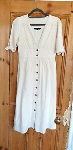 Vera Moda White Cream Midi Tea Dress with Bow Sleeves | Size Small