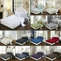 "Luxury Fitted Sheets 16""/40cm Extra Deep Bed Sheet Cover Single Double King Size"