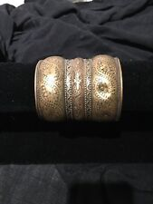 Brass Colour Intricate Design Large Cuff Bangle Has Dent
