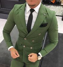 Diseñador Negocios Bañador ENTERO Claro Verde Cruzada Traje chaqueta pantalón
