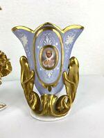 """Antique French Old Paris Porcelain Vase, Portrait, 8"""" H."""