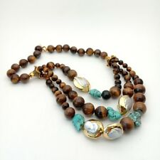 20'' 3 Strands  Tigers Eye White Keshi Pearl Turquoise Necklace